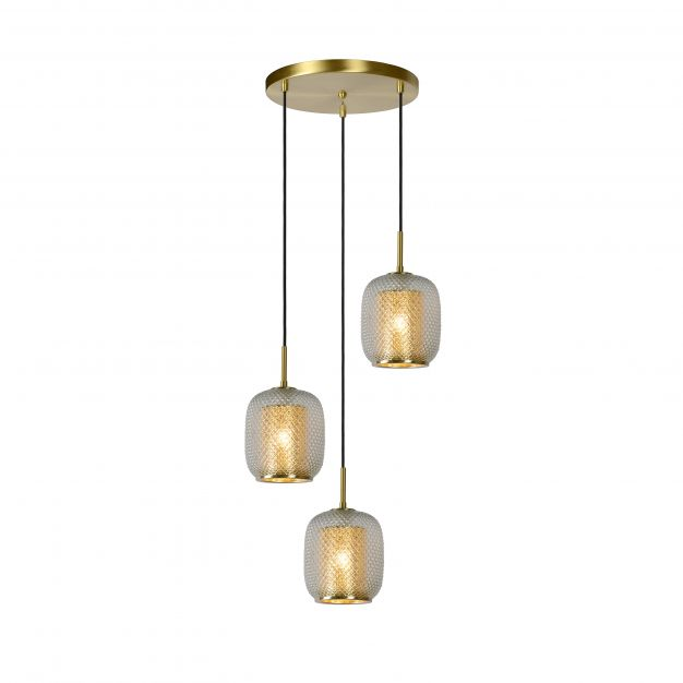 Lucide Agatha - hanglamp - Ø 35 x 163 cm - mat goud en messing