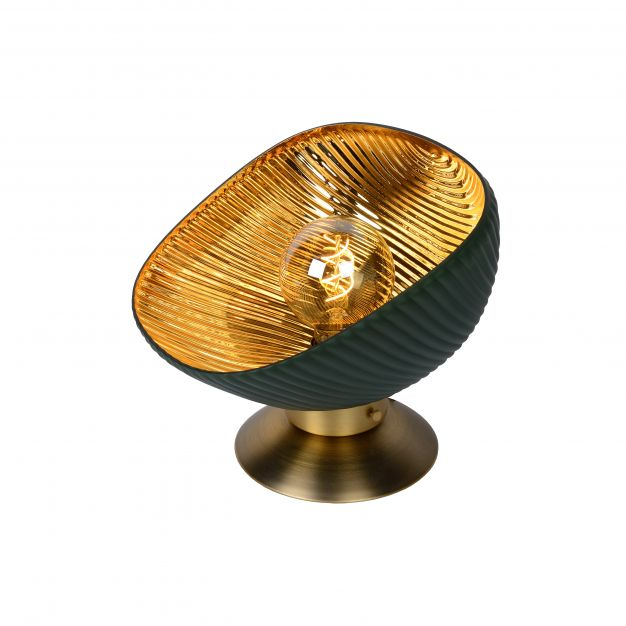 Lucide Extravaganza Goblett - tafellamp - Ø 28 x 26 cm - groen en goud