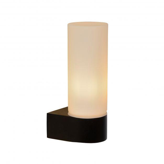 Lucide Jesse - wandverlichting - 5,5 x 8 x 16,3 cm - IP44 - zwart en opaal
