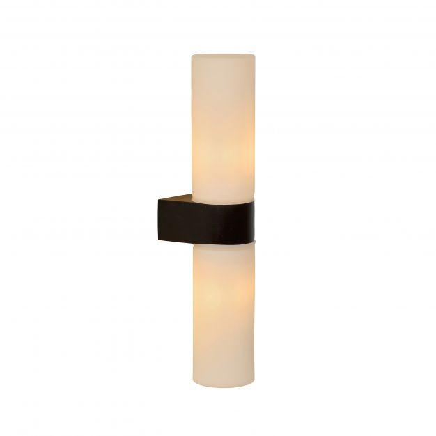 Lucide Jesse - wandverlichting - 5,5 x 8 x 29 cm - IP44 - zwart en opaal