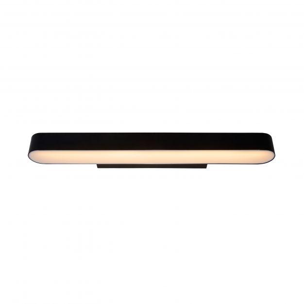 Lucide Madelon - spiegellamp - 60 x 5 x 10 cm - 9W LED incl. - IP44 - zwart en opaal