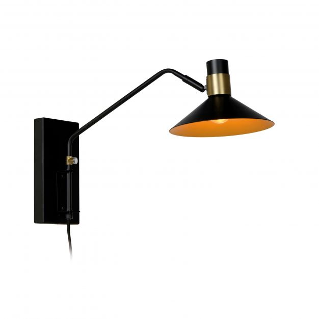 Lucide Pepijn - wandverlichting met schakelaar - 18,5 x 47 x 30 cm - 3 stappen dimbaar - zwart