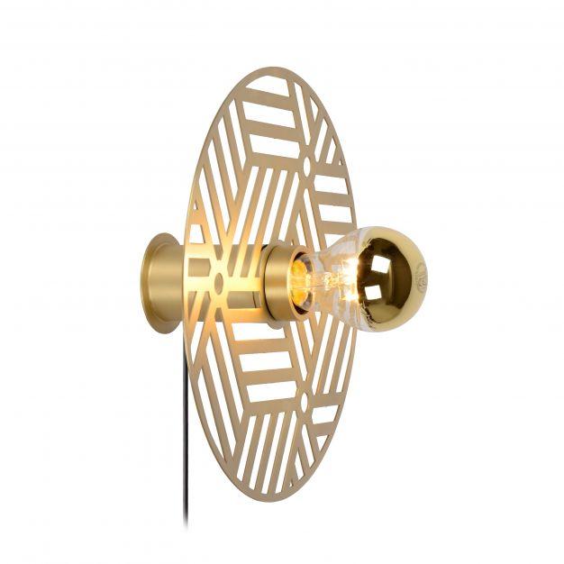 Lucide Olenna - wandverlichting met schakelaar - Ø 25 x 9 cm - mat goud