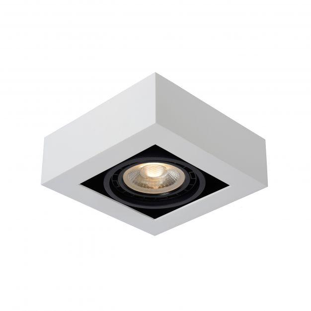Lucide Zefix - opbouwspot 1L - 18,5 x 18,5 x 9 cm - 12W dimbare LED incl. - dim to warm - wit en zwart