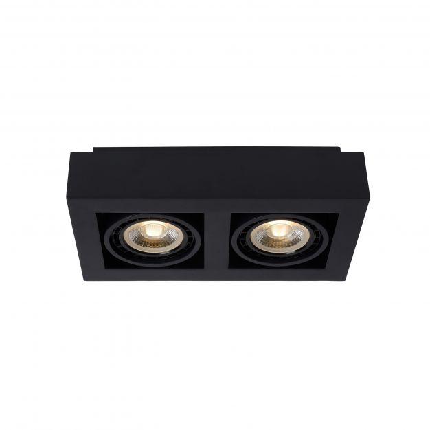Lucide Zefix - opbouwspot 2L - 34 x 18,5 x 9 cm - 2 x 12W dimbare LED incl. - dim to warm - zwart