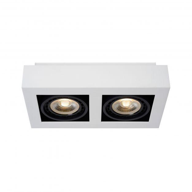 Lucide Zefix - opbouwspot 2L - 34 x 18,5 x 9 cm - 2 x 12W dimbare LED incl. - dim to warm - wit en zwart