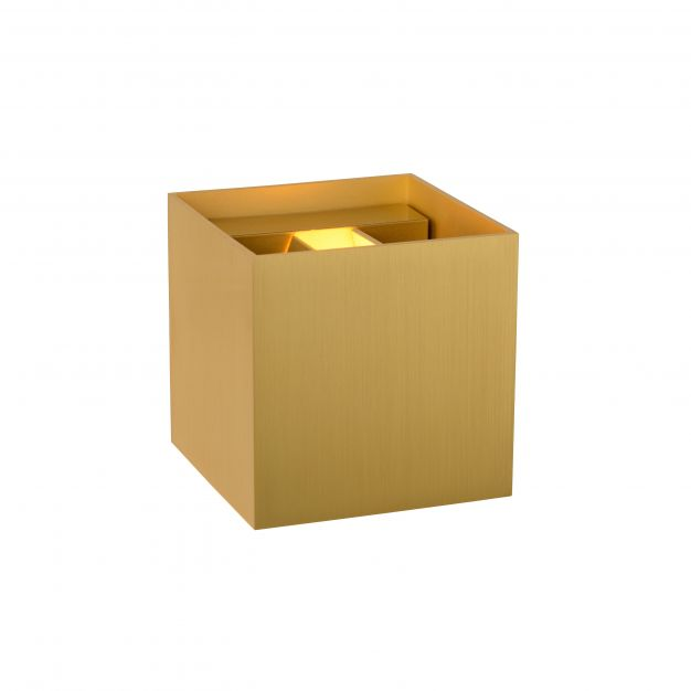Lucide Xio - wandverlichting - 9,7 x 9,7 x 9,7 cm - 3,5W dimbare LED incl. - mat goud