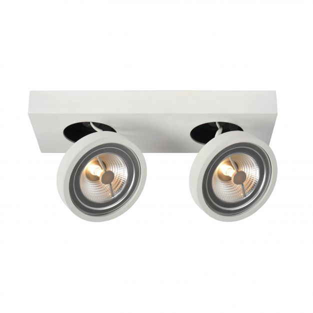 Lucide Nenad AR111 - opbouwspot 2L - 12 x 33 x 8 cm - 2 x 10W dimbare LED incl. - wit
