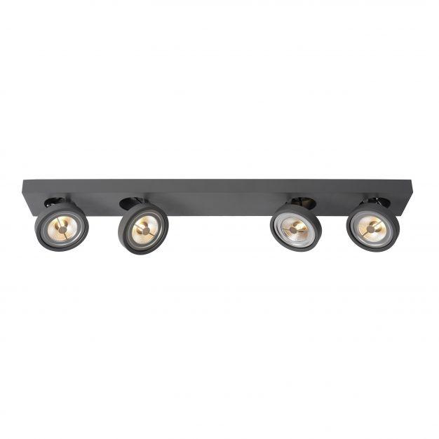 Lucide Nenad AR111 - opbouwspot 4L - 12 x 89 x 8 cm - 4 x 10W dimbare LED incl. - grijs
