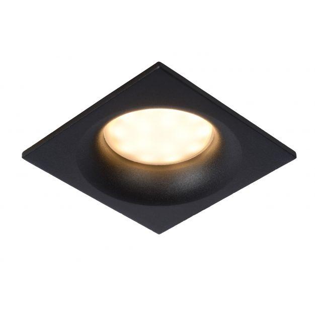 Lucide Ziva - inbouwspot - 85 x 85 mm, Ø 75 mm inbouwmaat - IP44 - zwart