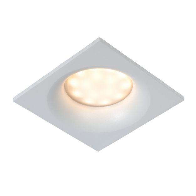 Lucide Ziva - inbouwspot - 85 x 85 mm, Ø 75 mm inbouwmaat - IP44 - wit