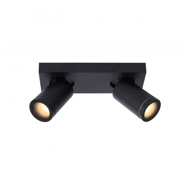Lucide Taylor - opbouwspot 2L - 24 x 10 x 12,5 cm - 2 x 5W dimbare LED incl. - dim to warm - IP44 - zwart