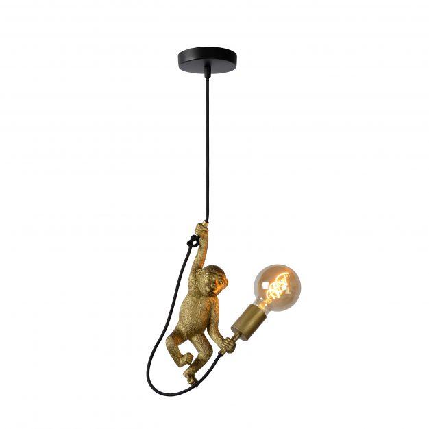Lucide Extravaganza Chimp - hanglamp - Ø 18 x 185 cm - zwart en goud