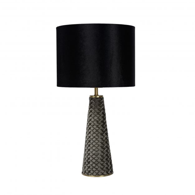 Lucide Extravaganza Velvet - tafellamp - Ø 25 x 47 cm - zwart en grijs