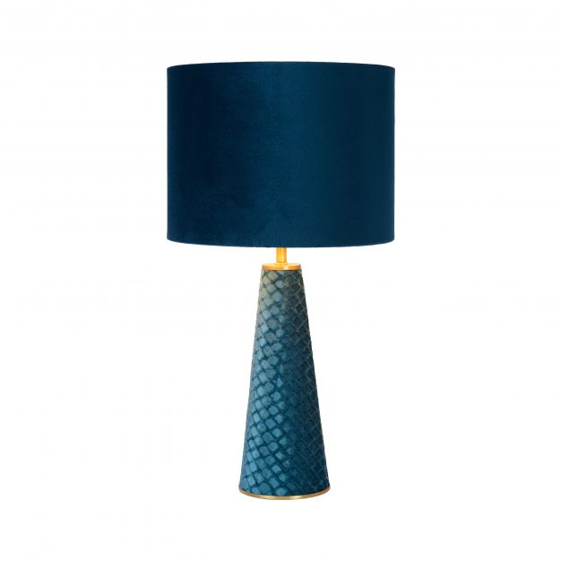 Lucide Extravaganza Velvet - tafellamp - Ø 25 x 47 cm - turkoois