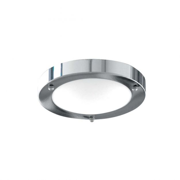 Searchlight Bathroom Flush - plafondlamp badkamer - Ø 31 x 9 cm - IP44 - chroom
