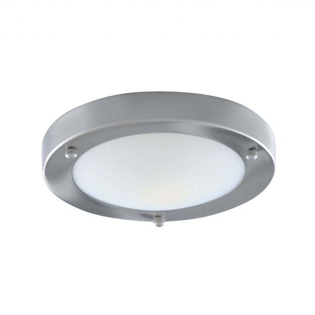 Searchlight Bathroom Flush - plafondlamp badkamer - Ø 31 x 9 cm - IP44 - satijn zilver