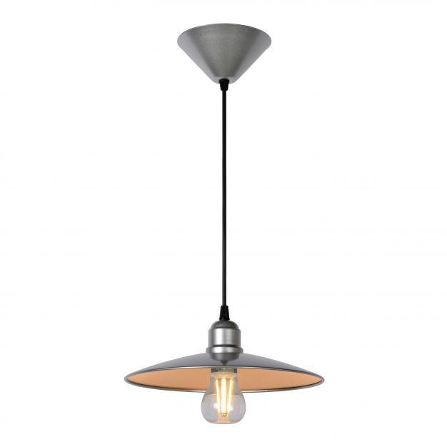 Lucide Peter - hanglamp - 27 x 27 x 140 cm - 8W dimbare LED incl. - grijs