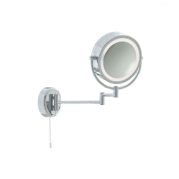 Searchlight Bathroom Mirrors - spiegel met verlichting en trekschakelaar - 38 x 33 cm - IP44 - chroom