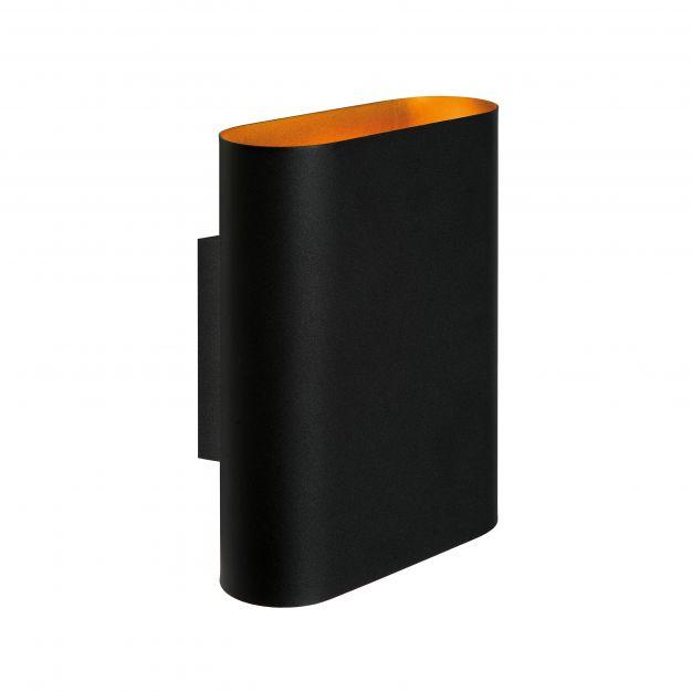 Lucide Ovalis - wandverlichting - 16 x 8,5 x 20 cm - zwart en mat goud