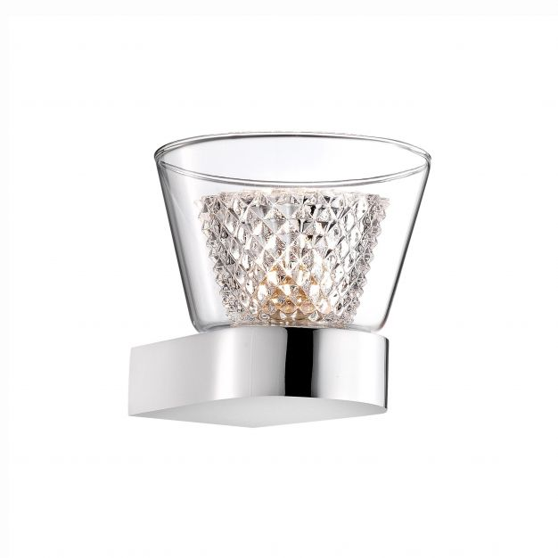 Nova Luce Boccale - wandverlichting - 12,6 x 12 x 10,3 cm - 33W halogeen incl. - chroom en transparant
