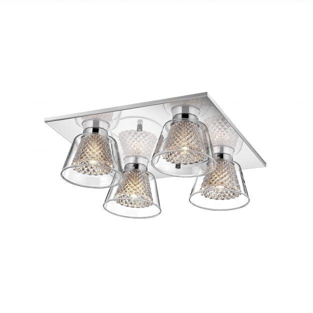 Nova Luce Boccale - plafondverlichting - 32 x 32 x 12 cm - 4 x 33W halogeen incl. - chroom en transparant