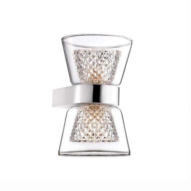 Nova Luce Boccale - wandverlichting - 12,6 x 12 x 18 cm - 2 x 33W halogeen incl. - chroom en transparant