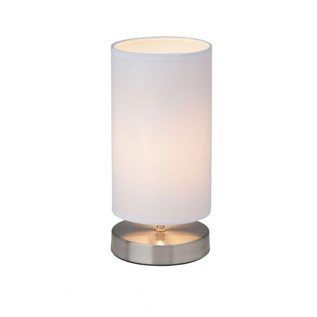 Brilliant Clarie - tafellamp - 25,5 cm - wit en satijn chroom