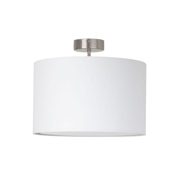 Brilliant Clarie - plafondverlichting - Ø 40 x 32 cm - wit, satijn chroom