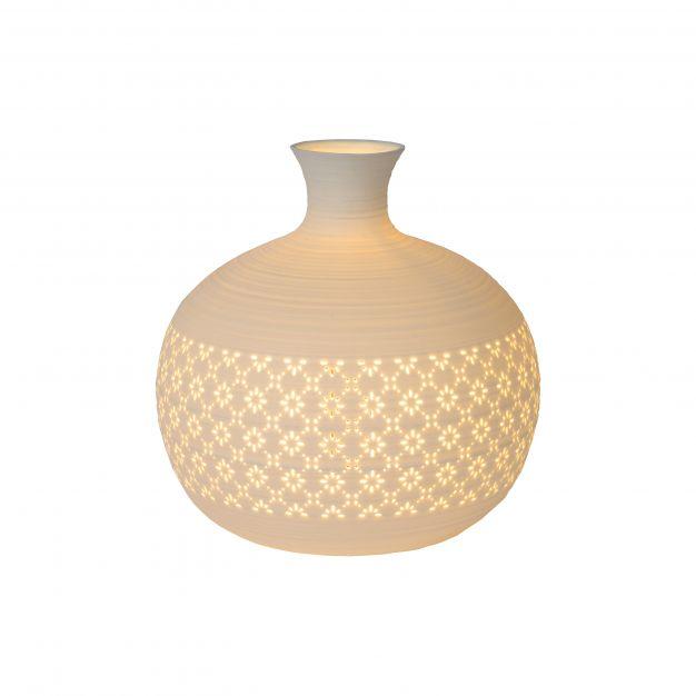 Lucide Tiesse - tafellamp - Ø 19,6 x 19,2 cm - wit