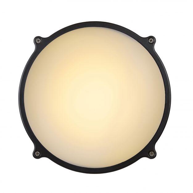 Lucide Hublot LED IR - wand/plafondlamp met bewegingssensor - Ø 24 x 8 cm - 26W LED incl. - IP65 - grijs