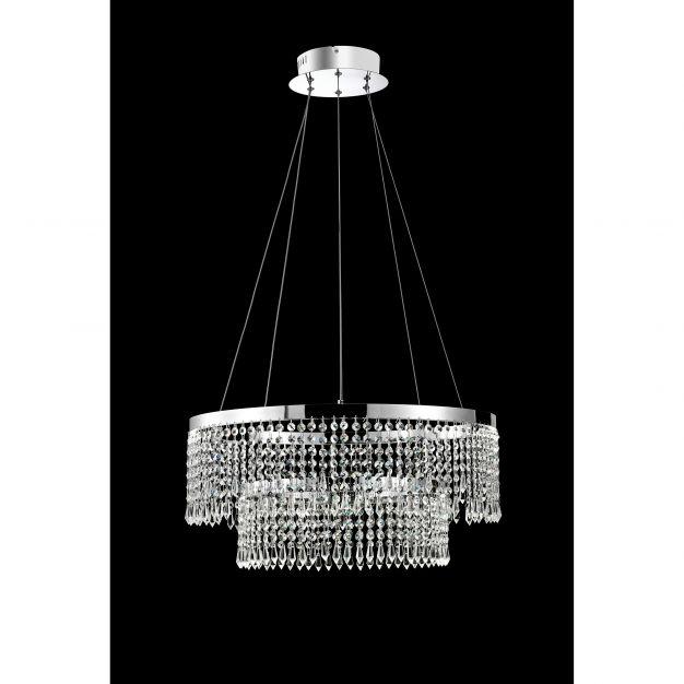 Nova Luce Adelio - hanglamp - Ø 60 x 135 cm - 60W LED incl. - chroom