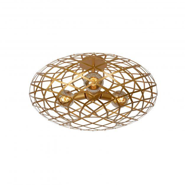 Lucide Wolfram - plafondverlichting - Ø 65 x 32 cm - mat goud en messing