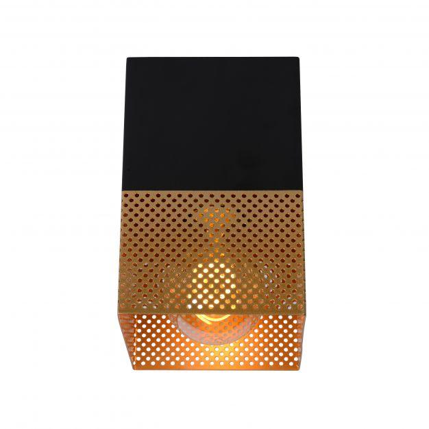 Lucide Renate - plafondverlichting - 10 x 10 x 16 cm - zwart en mat goud
