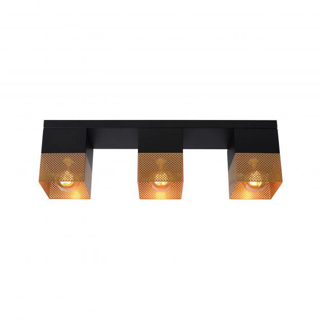 Lucide Renate - plafondverlichting - 54 x 10 x 16 cm - zwart en mat goud