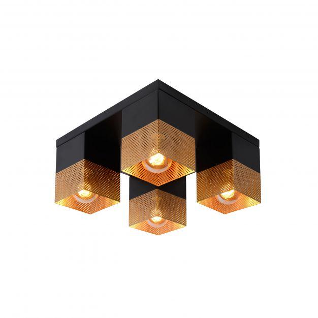 Lucide Renate - plafondverlichting - 32 x 32 x 16 cm - zwart en mat goud