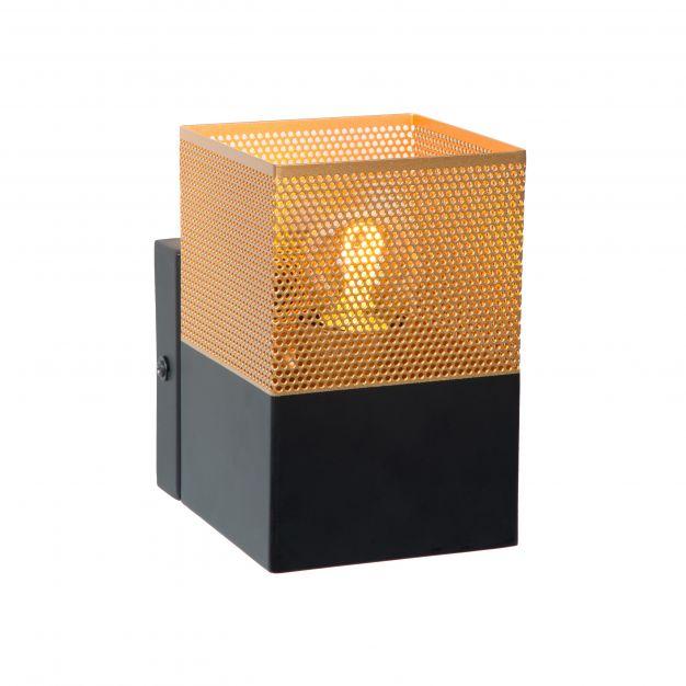 Lucide Renate - wandverlichting - 10 x 10 x 15 cm - zwart en mat goud