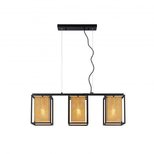 Lucide Sansa - hanglamp - 85 x 18 x 158,5 cm - zwart en mat goud