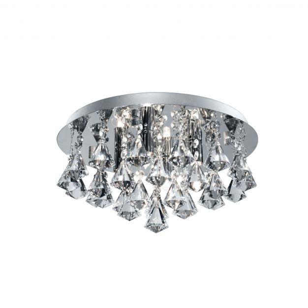 Searchlight Bathroom - plafondlamp badkamer - Ø 38 x 17,5 cm - 4 x 3W LED incl. - IP44 - chroom