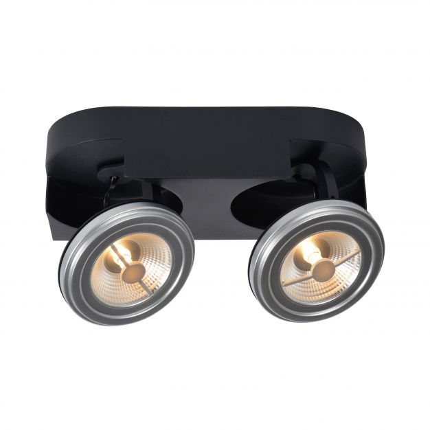 Lucide Versum AR111 - opbouwspot 2L - 15 x 30 x 11 cm - 2 x 10W dimbare LED incl. - zwart
