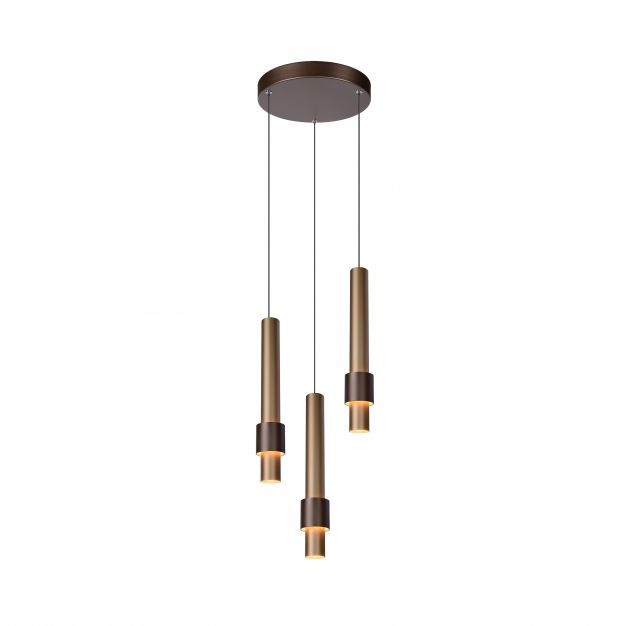 Lucide Margary - hanglamp - Ø 28 x 169 cm - 3 x 5W dimbare LED incl. - koffie