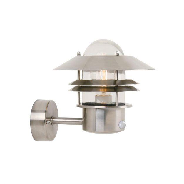 Nordlux Blokhus Sensor - buiten wandverlichting met bewegingsdetector - 22 x 23 x 25 cm - IP54 - roestvrij staal