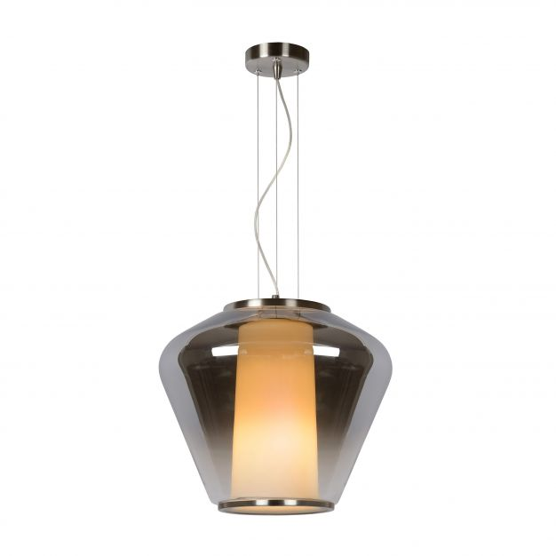 Lucide Stian - hanglamp - Ø 38 x 168 cm - gerookt en opaal glas