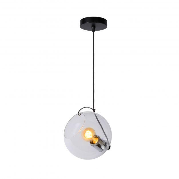 Lucide Jazzlynn - hanglamp - Ø 20 x 150 cm - zwart en transparant