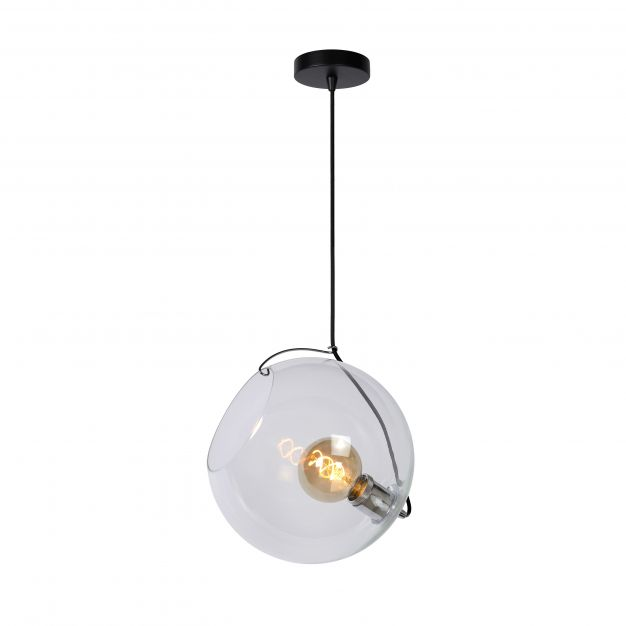 Lucide Jazzlynn - hanglamp - Ø 30 x 160 cm - zwart en transparant