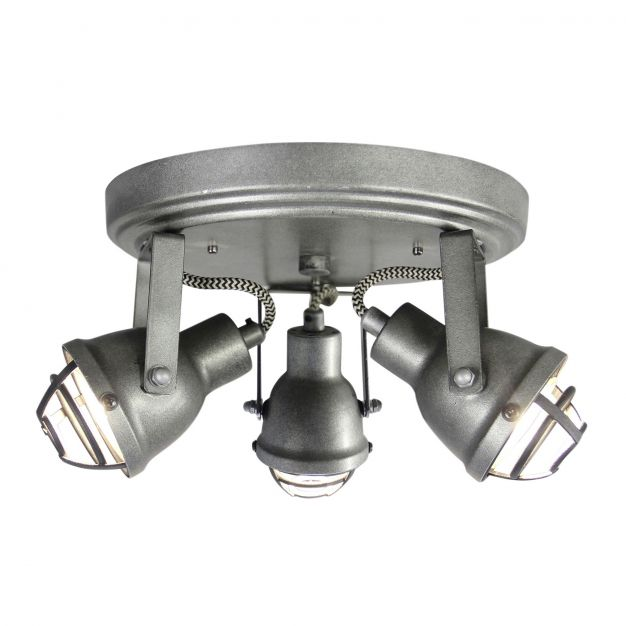 Brilliant Bente - opbouwspot 3L - Ø 21,5 x 13,5 cm - 3 x 4W LED incl. - gebrand staal