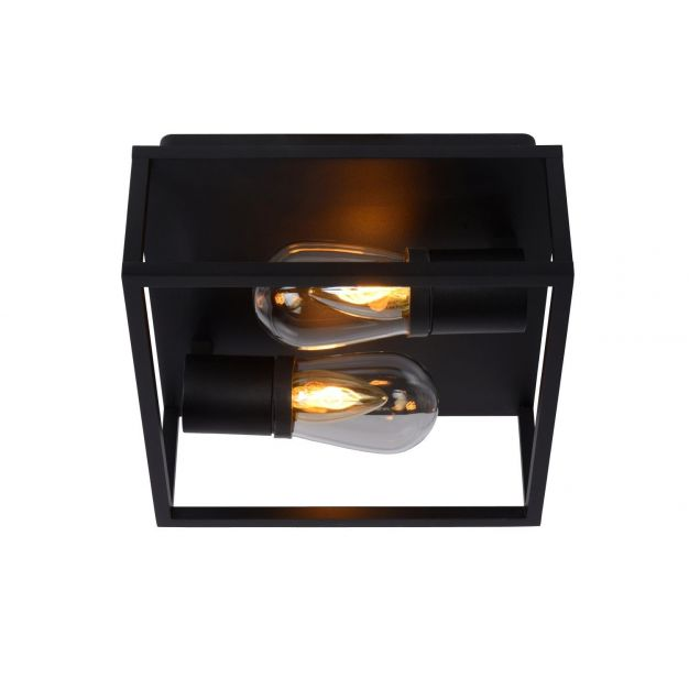 Lucide Carlyn - plafondverlichting - 25 x 25 x 12,6 cm - IP54 - zwart