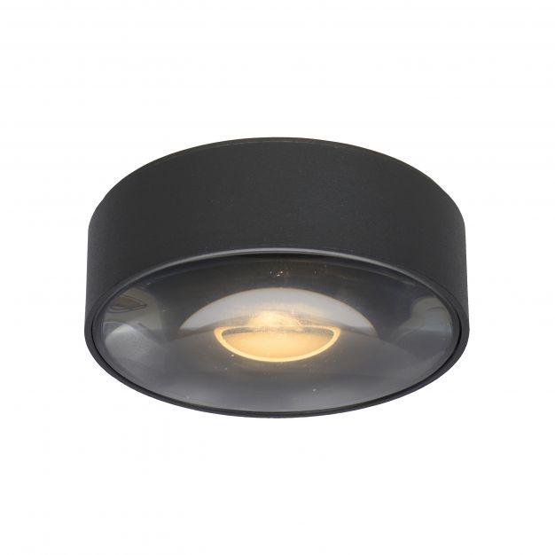 Lucide Rayen - plafondspot badkamer - 10 x 10 x 3,5 cm - 6W LED incl. - IP65 - zwart