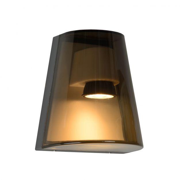 Lucide Freo - wandverlichting - 10 x 16 x 14 cm - IP54 – gerookt glas