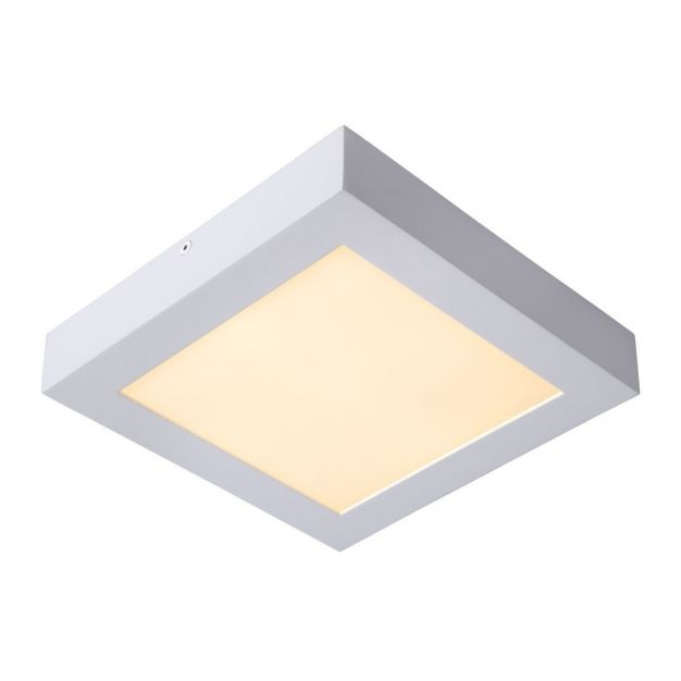Lucide Brice-Led - plafondverlichting - 22 x 22 x 3,9 cm - 22W dimbare LED incl. - IP44 - wit